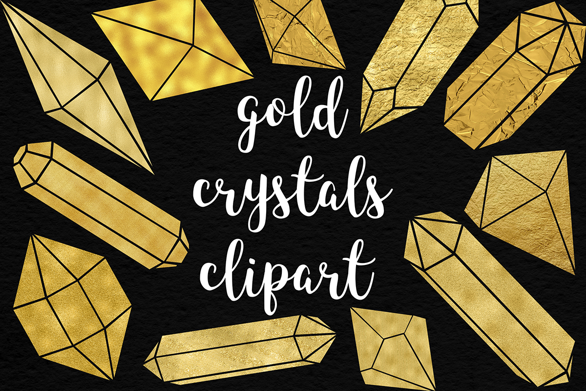 Shimmer Gold Crystals Clipart example image 1