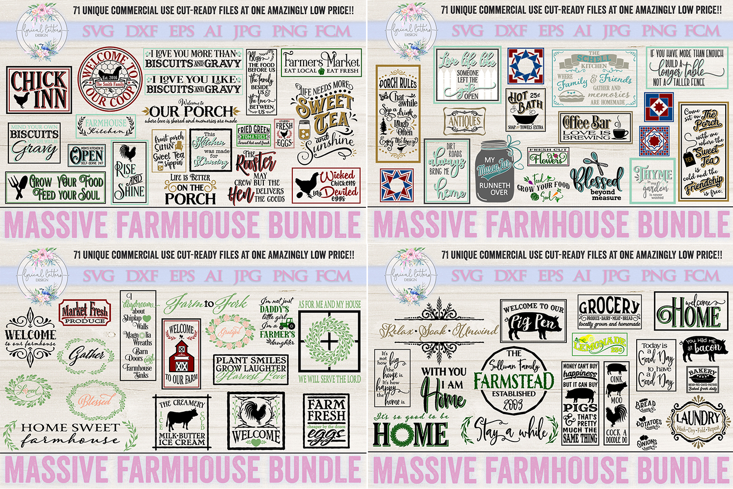 Farmhouse Bundle of 71 SVG DXF Cut Files example image 1