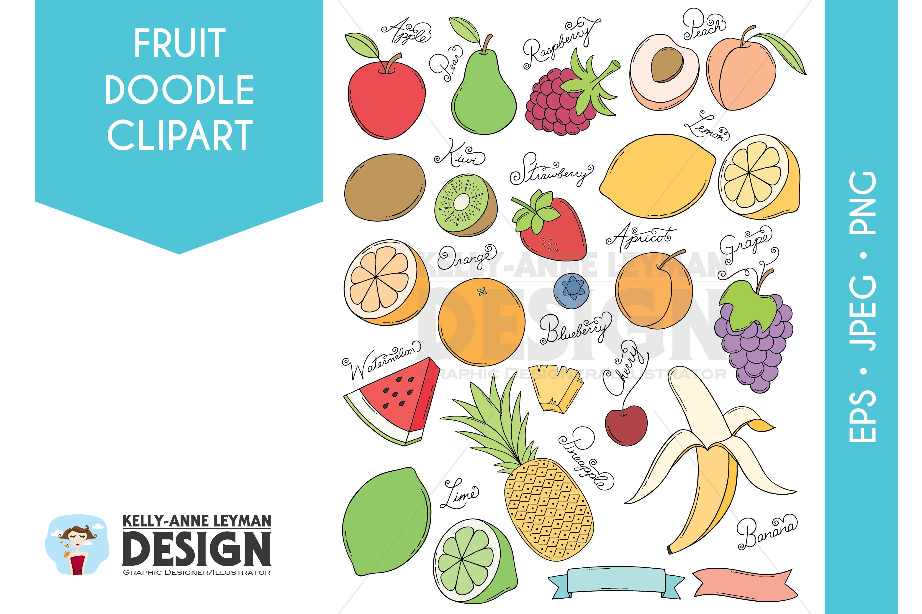 Doodle Fruit Clip Art Set, Hand drawn Food Clipart