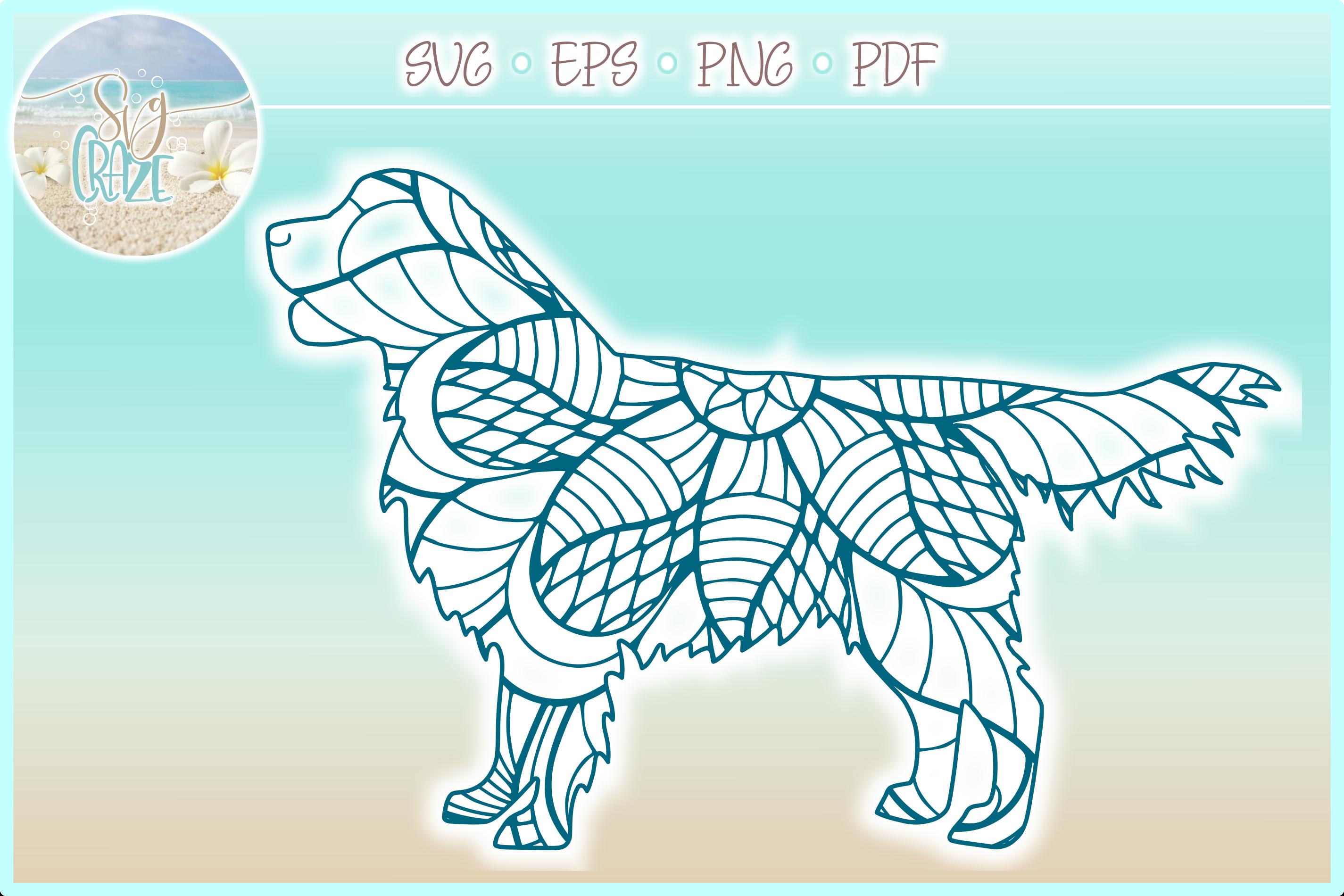 Golden Retriever Mandala Zentangle Bundle SVG Eps Png PDF example image 4