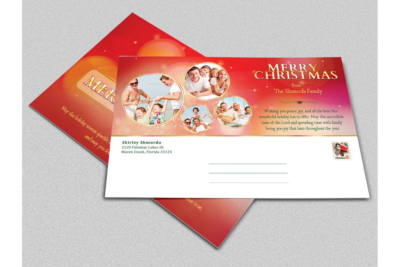 Merry Christmas Postcard Template example image 2