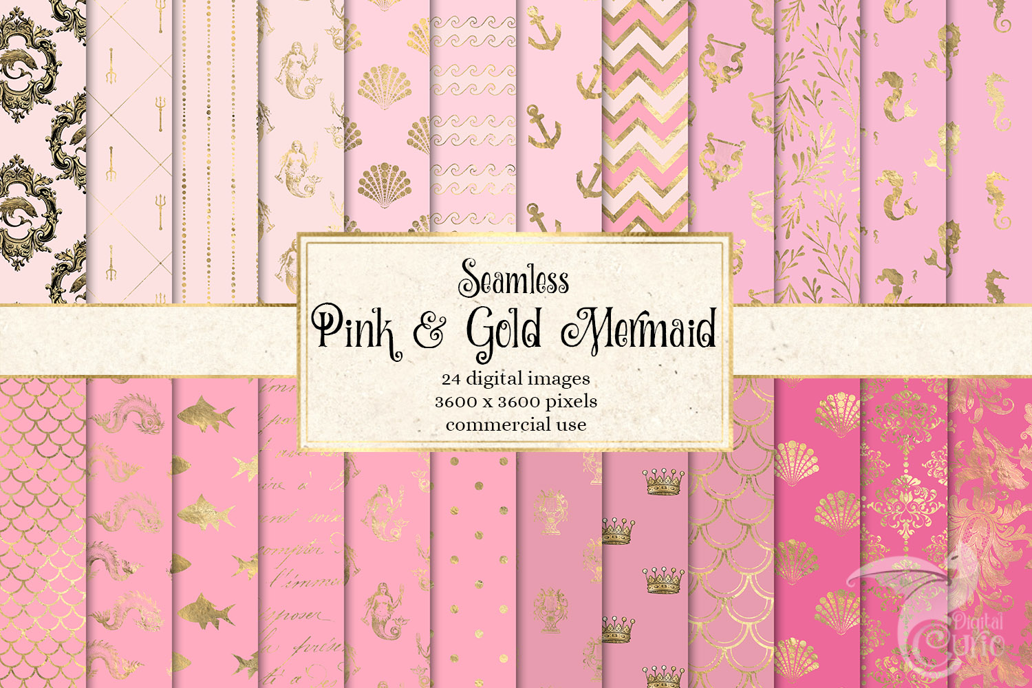 Pink and Gold Mermaid Digital Paper example image 1