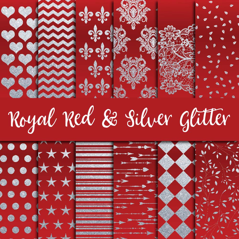 Royal Red & Silver Glitter Digital Paper example image 1