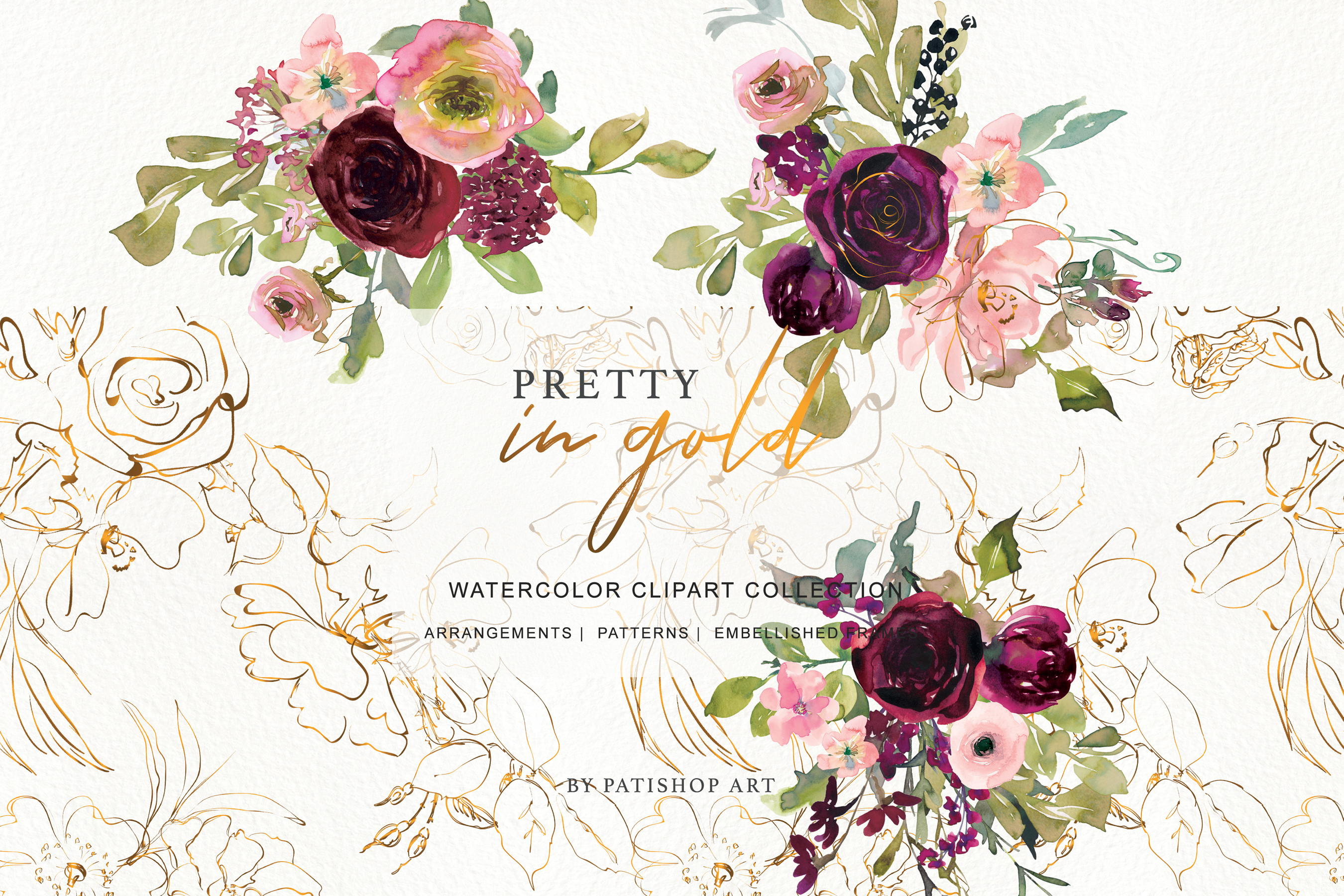 Watercolor Burgundy Blush and Gold Floral Bouquet Clipart example image 8