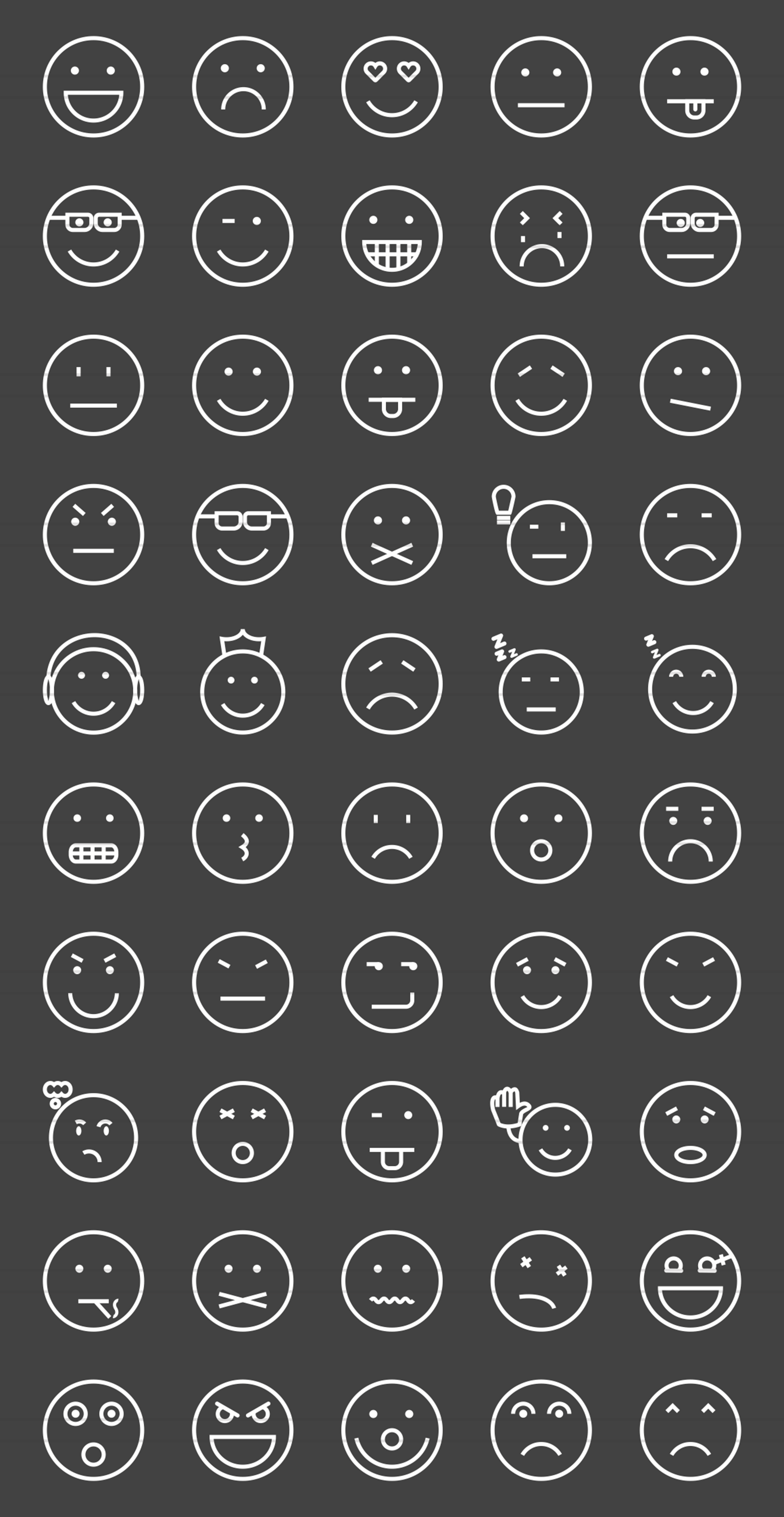 50 Emoticons Line Inverted Icons example image 2