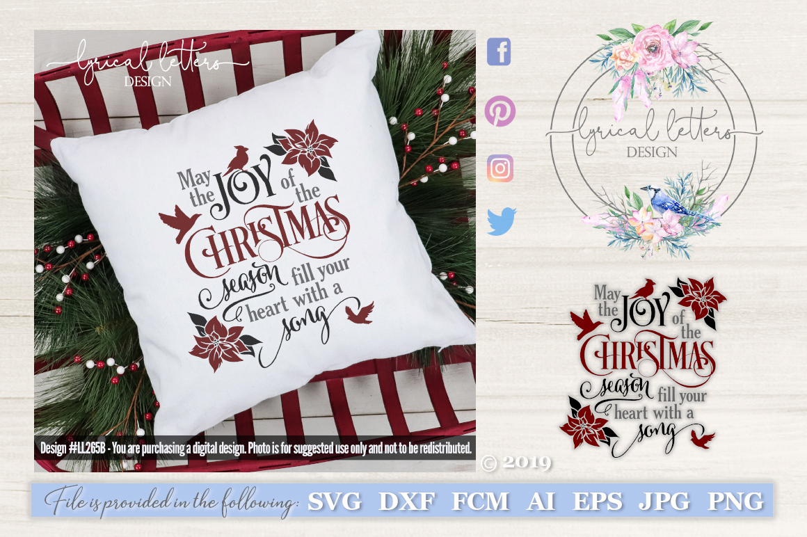 Joy of the Christmas Season with Cardinal SVG LL265B example image 1