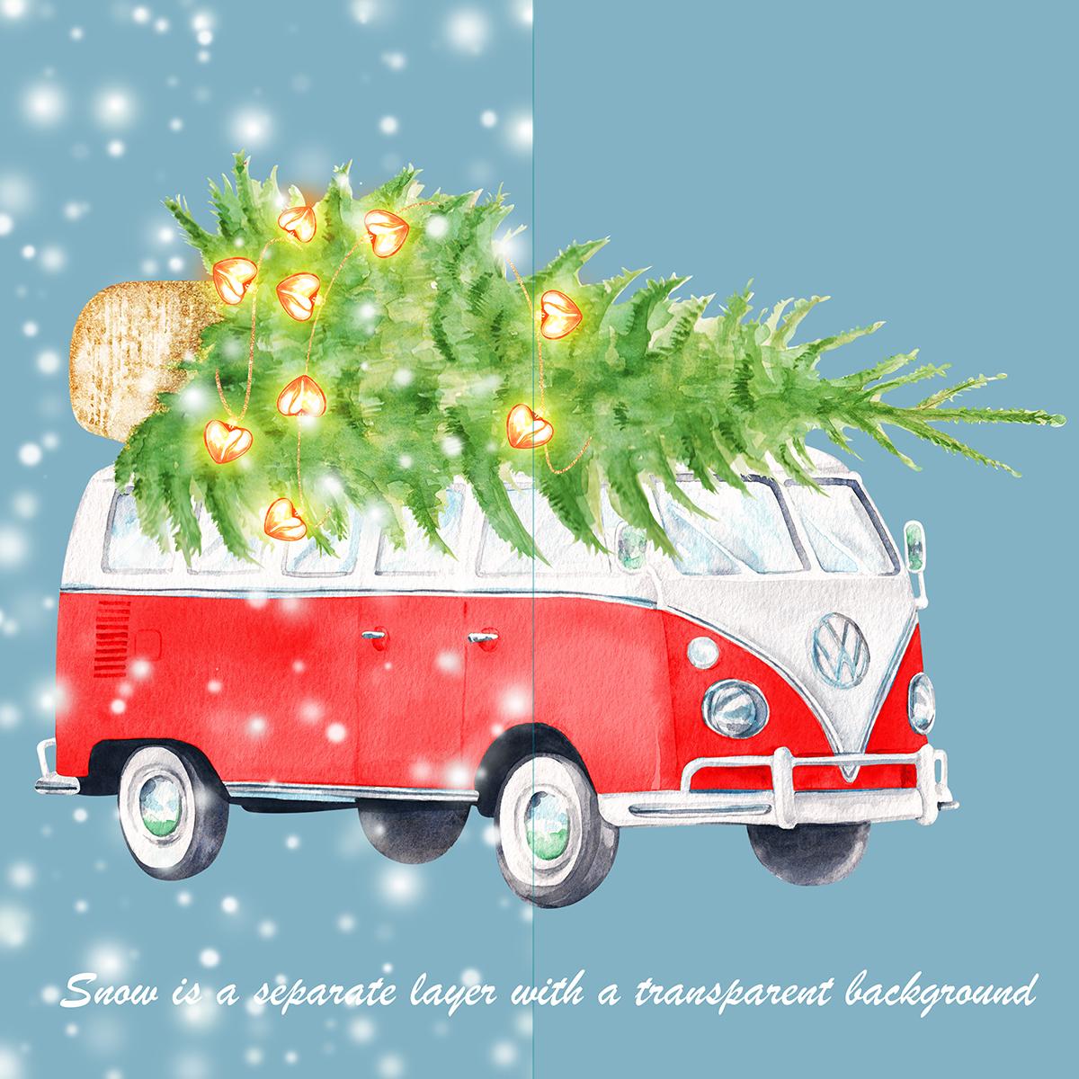Christmas retro van cliparts. example image 3