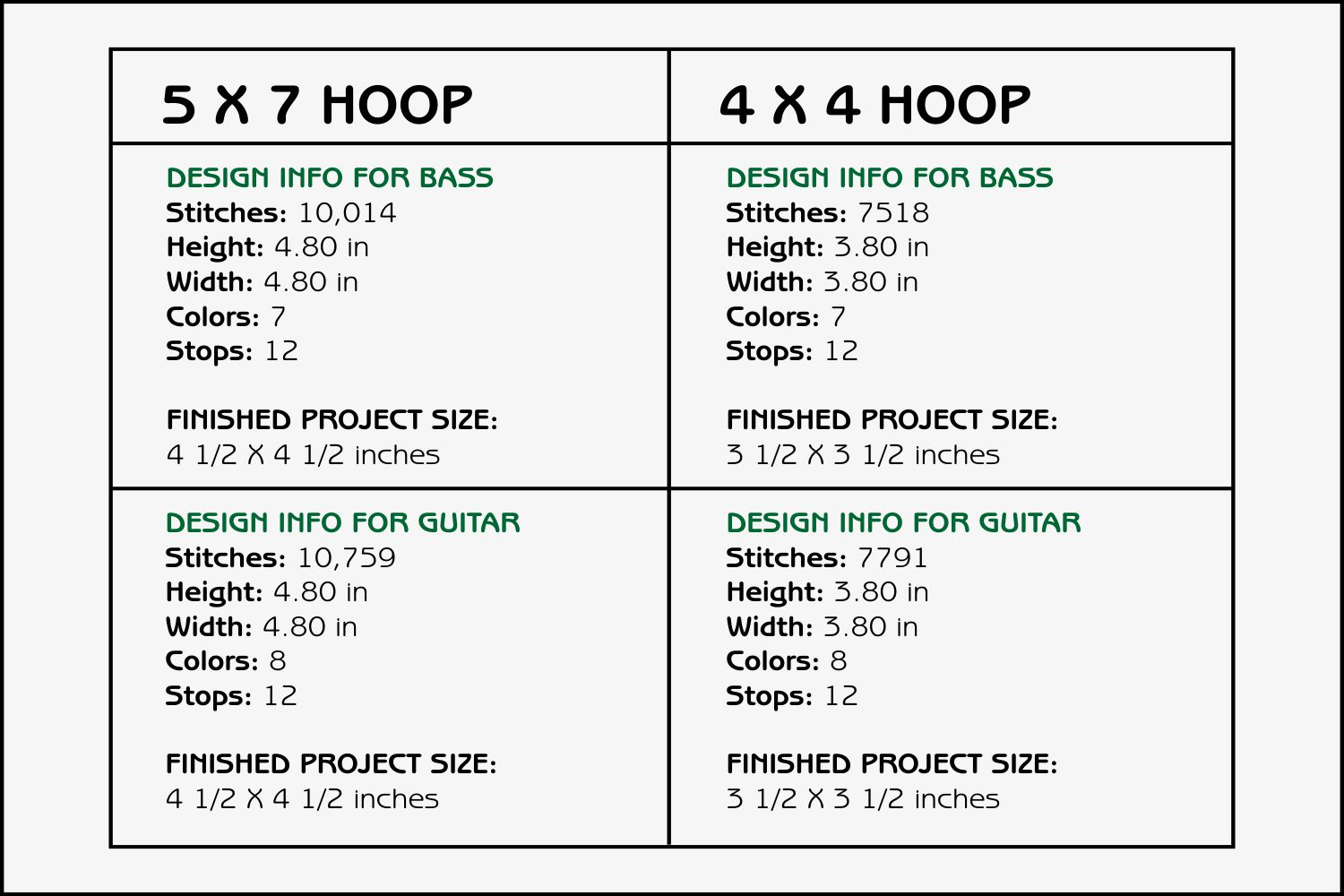 Guitars Coasters - 4 x 4 and 5 x 7 Hoops example image 3