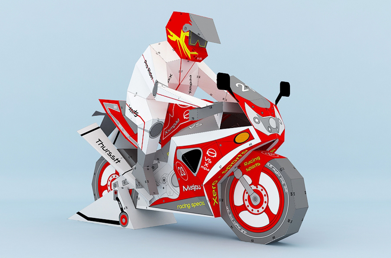 DIY Sports bike - 3d papercraft example image 1