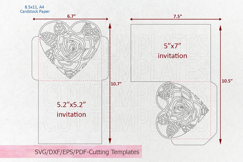 Rose heart Pocket envelope Wedding Invitation svg laser cut example image 2