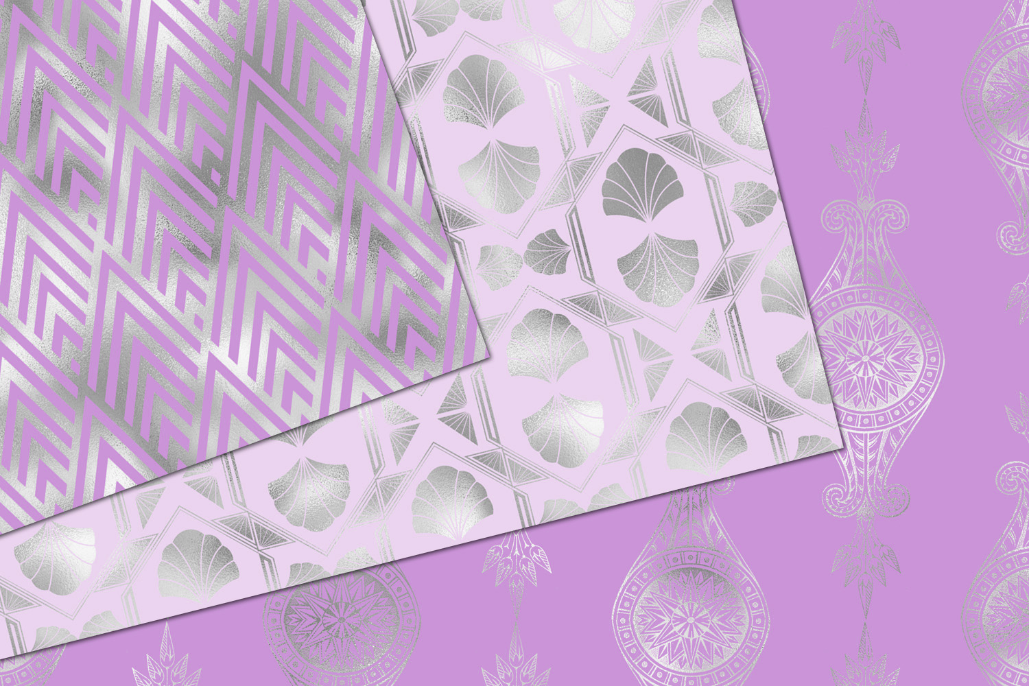 Purple and Silver Art Deco Digital Paper example image 2