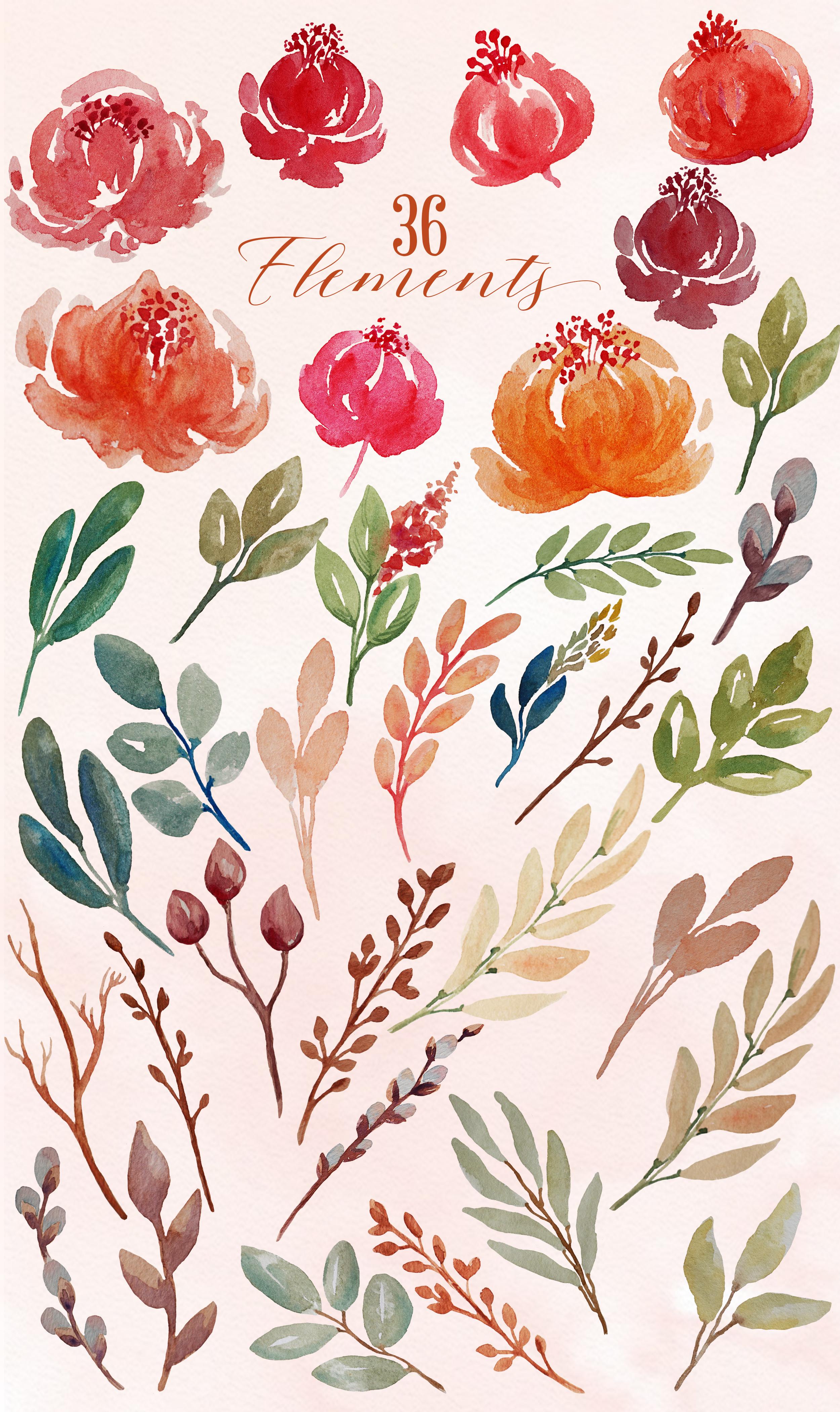 Juliet Floral Watercolor Clip Art Set example image 4