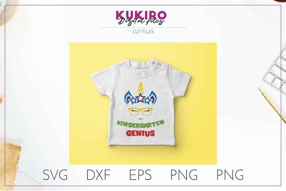 Unicorn SVG - Genius school boy cut file SVG DXF EPS PNG JPG example image 2