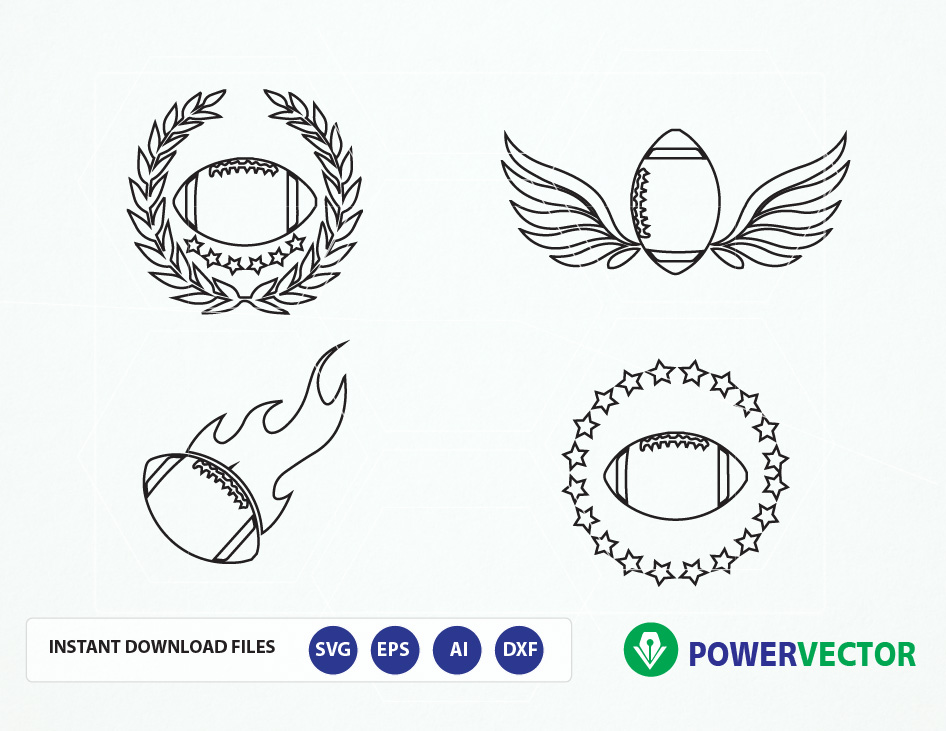Football Team Logo Vector. Football svg, dxf, png, eps. Football with Flame, Wings, Laurel Wreath Clipart example image 3