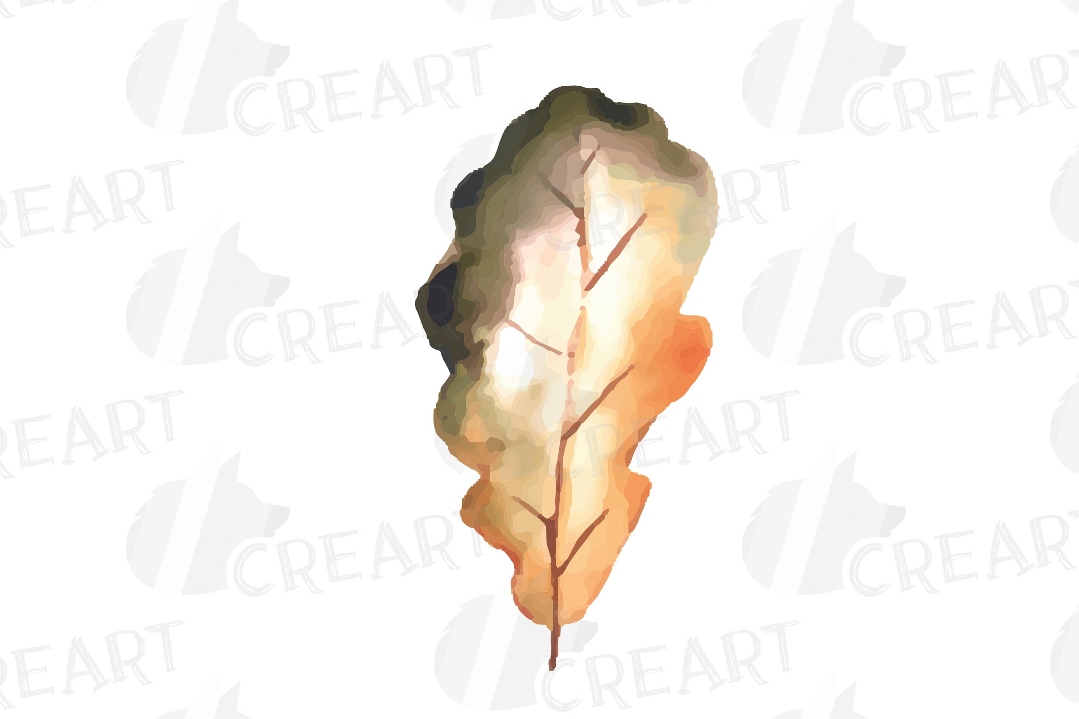 Printable autumn leaves watercolor decoration clip art pack. example image 4