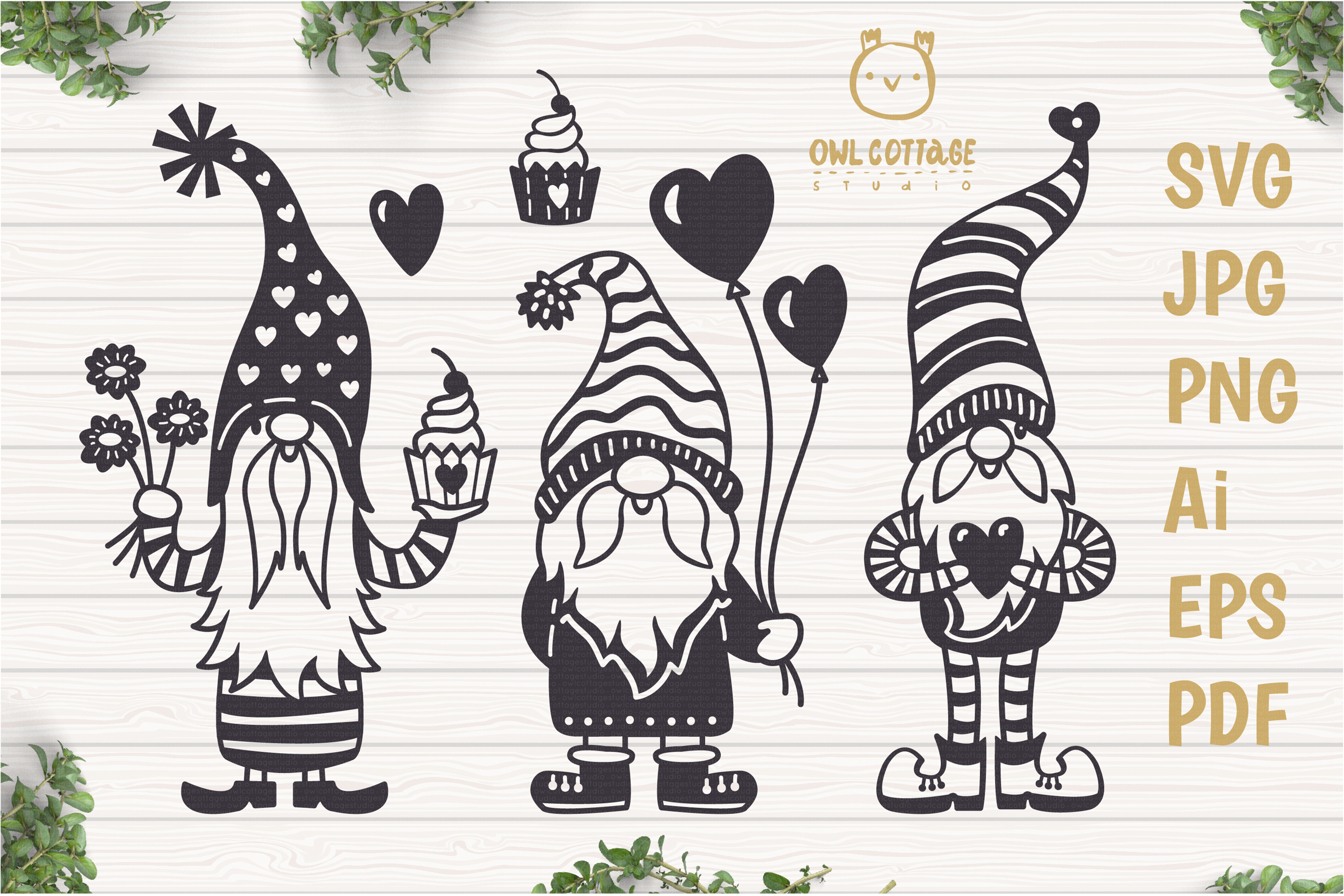 Valentine Gnomes, Gnome Holding Heart Svg, Valentine's Day S example image 1