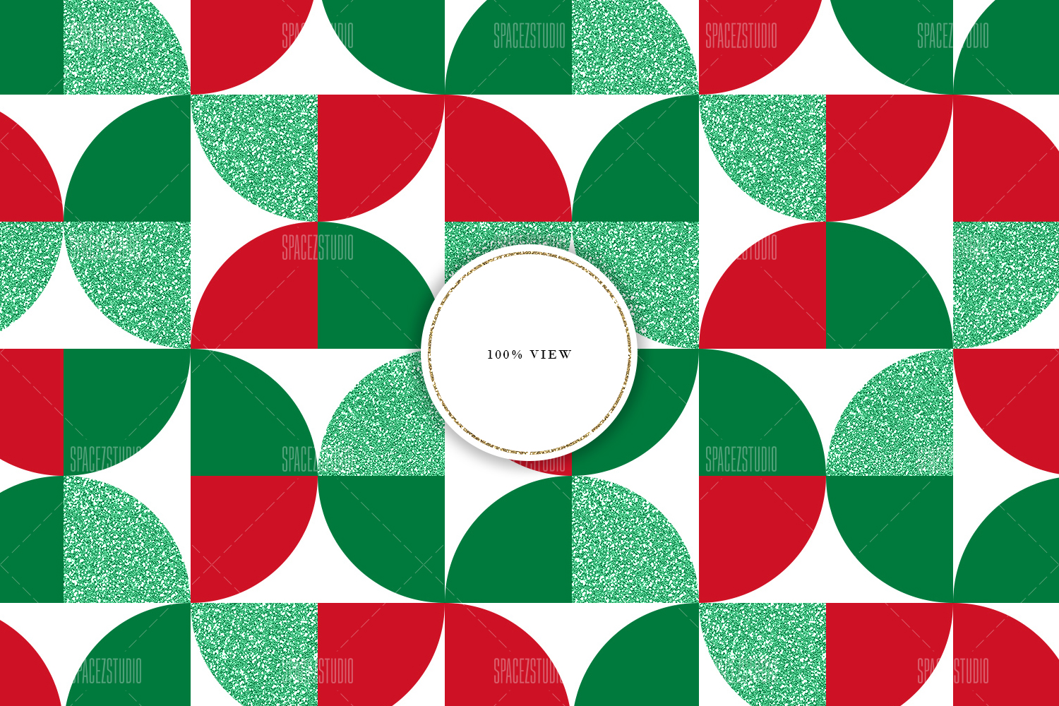 Christmas Colors & Glitter Seamless Geomteric Digital Paper example image 6