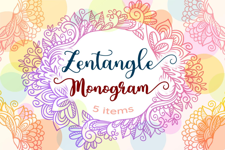 Zentangle Monogram - 5 SVG cut files example image 1