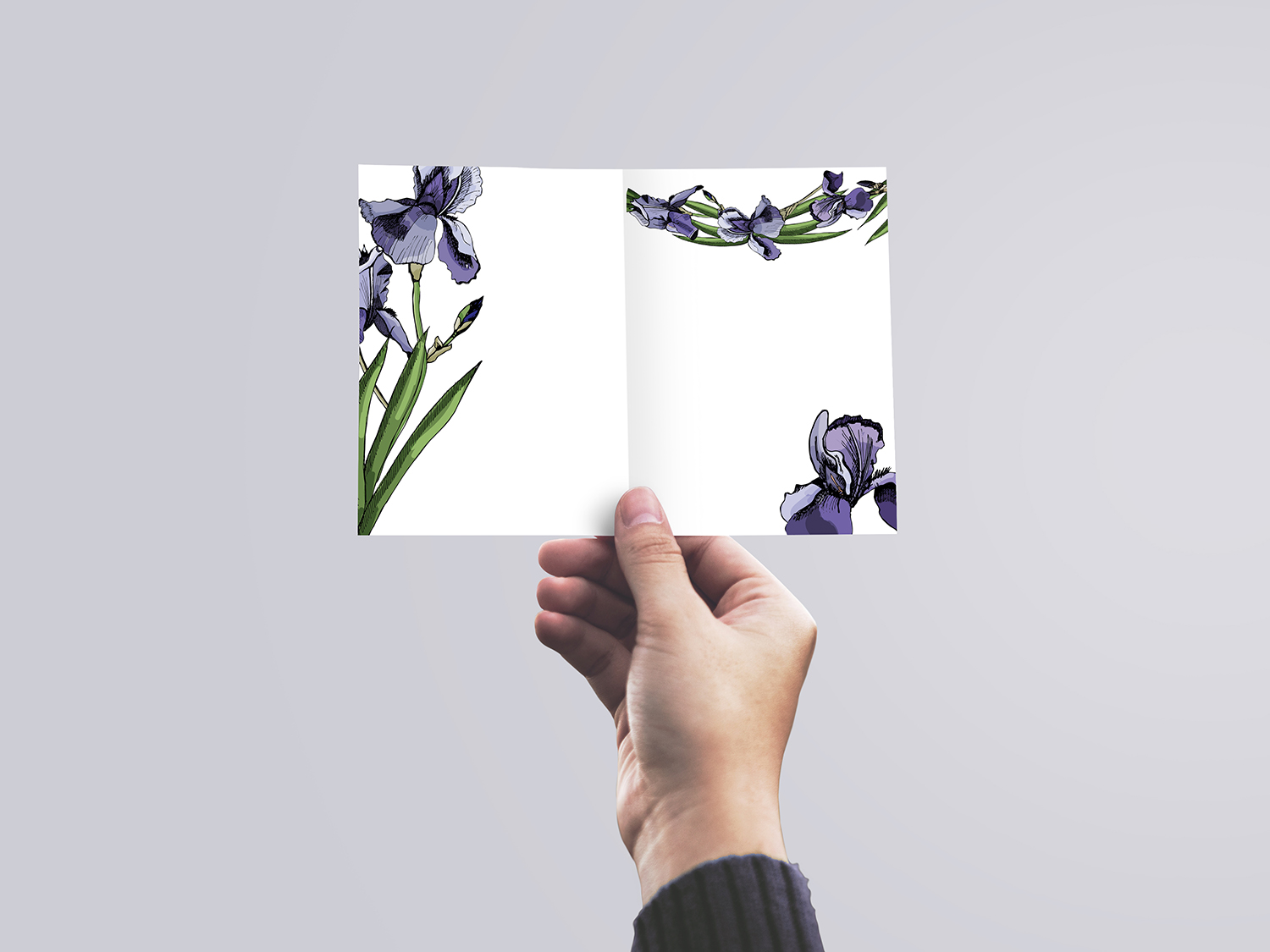 Collection with sketches of iris flowers and seamless patterns.  example image 6