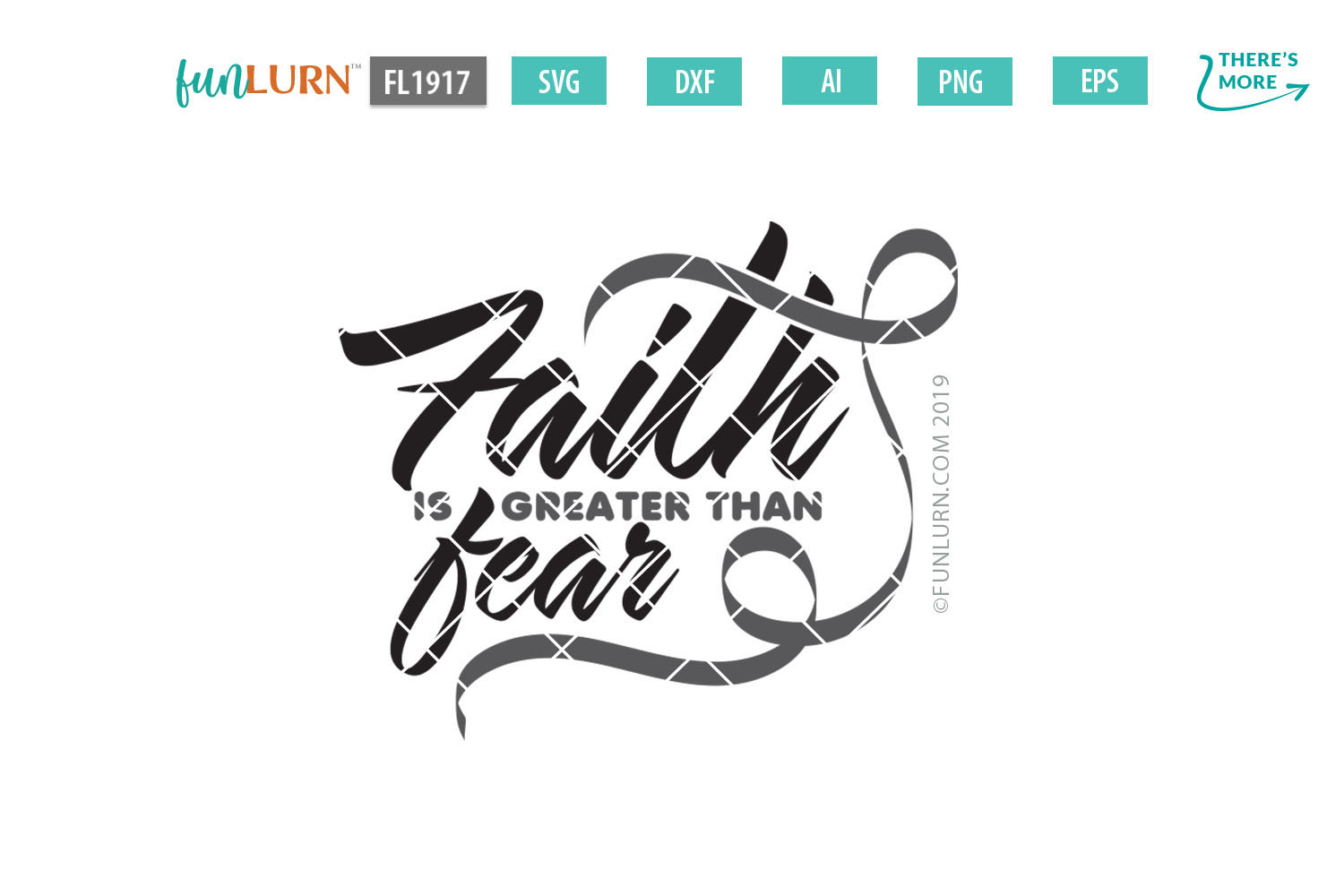 Faith is Greater Than Fear Gray Ribbon SVG Cut File example image 2