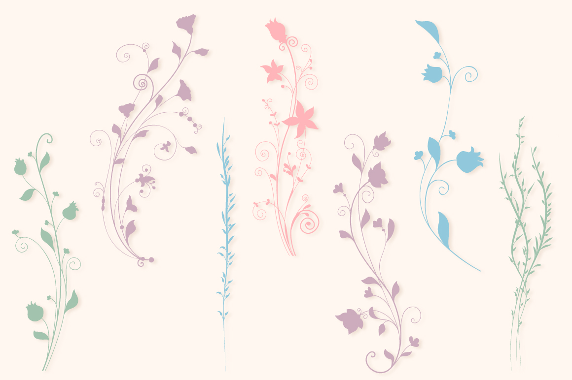 Floral Silhouettes SVG Cut Files Pack with 35 Items example image 4