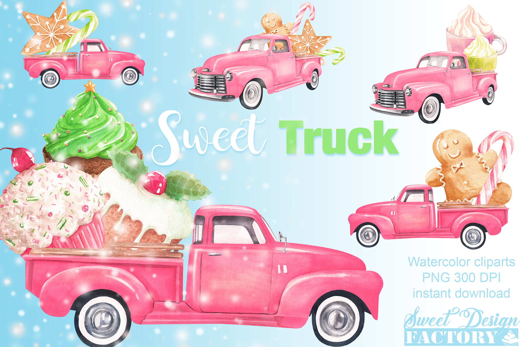 Watercolor Christmas pink pick-up cliparts example image 1