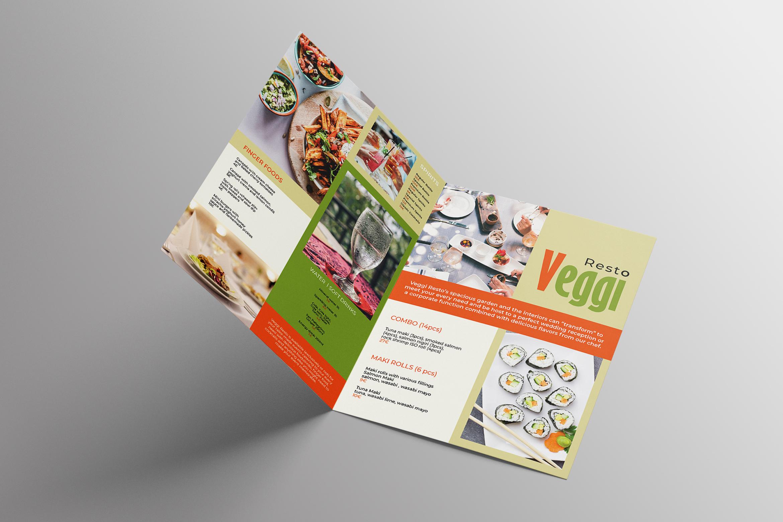 Vegan Menu Bifold Brochure A3 - AI/PSD Templates example image 3