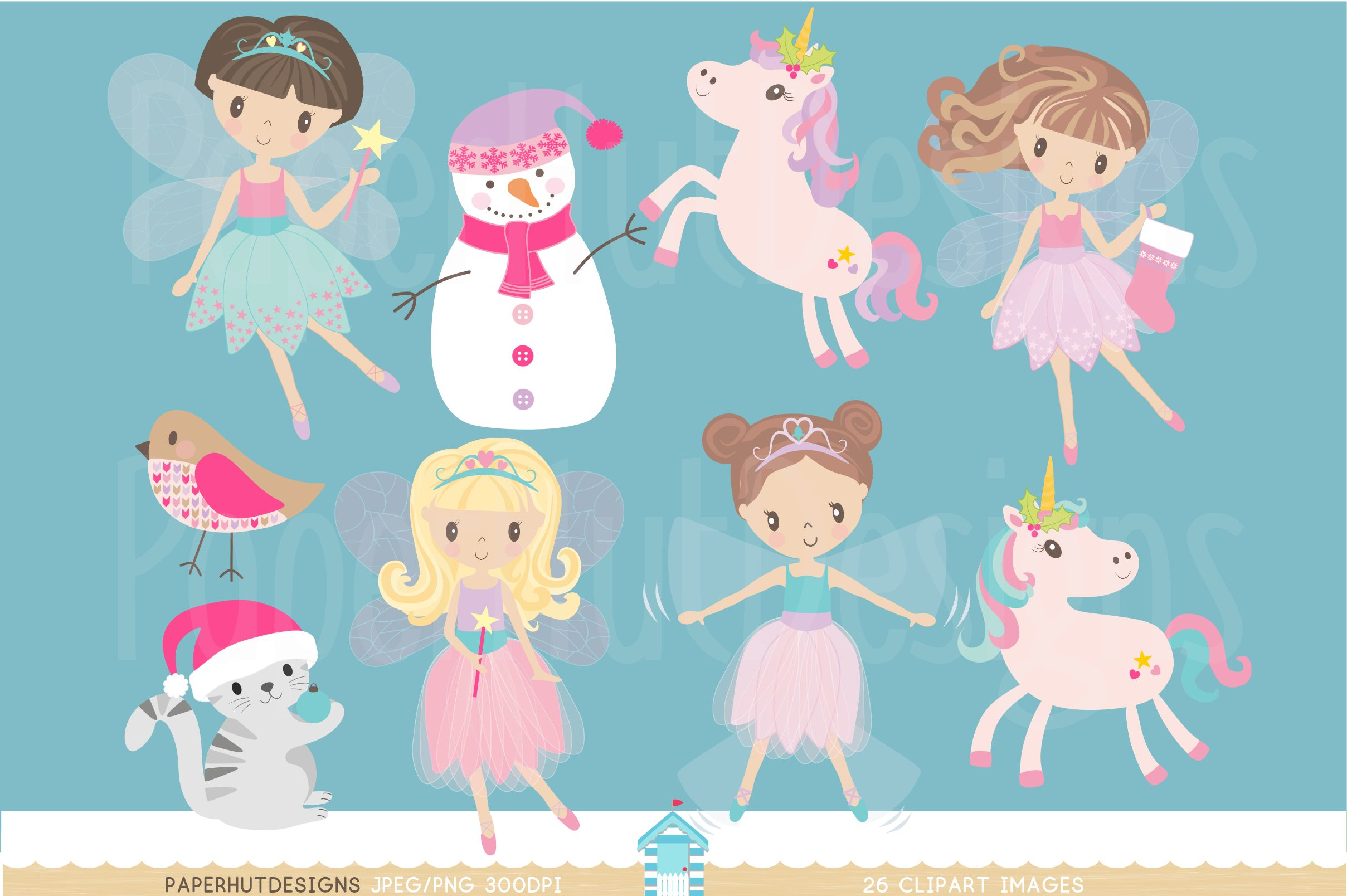 Christmas Fairy Clipart Set example image 2