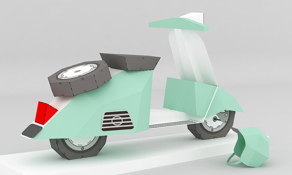 DIY Paper Scooter - 3d papercraft example image 2