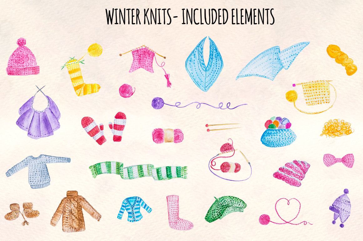 28 Knitting And Winter Clothes Watercolor Graphics example image 1