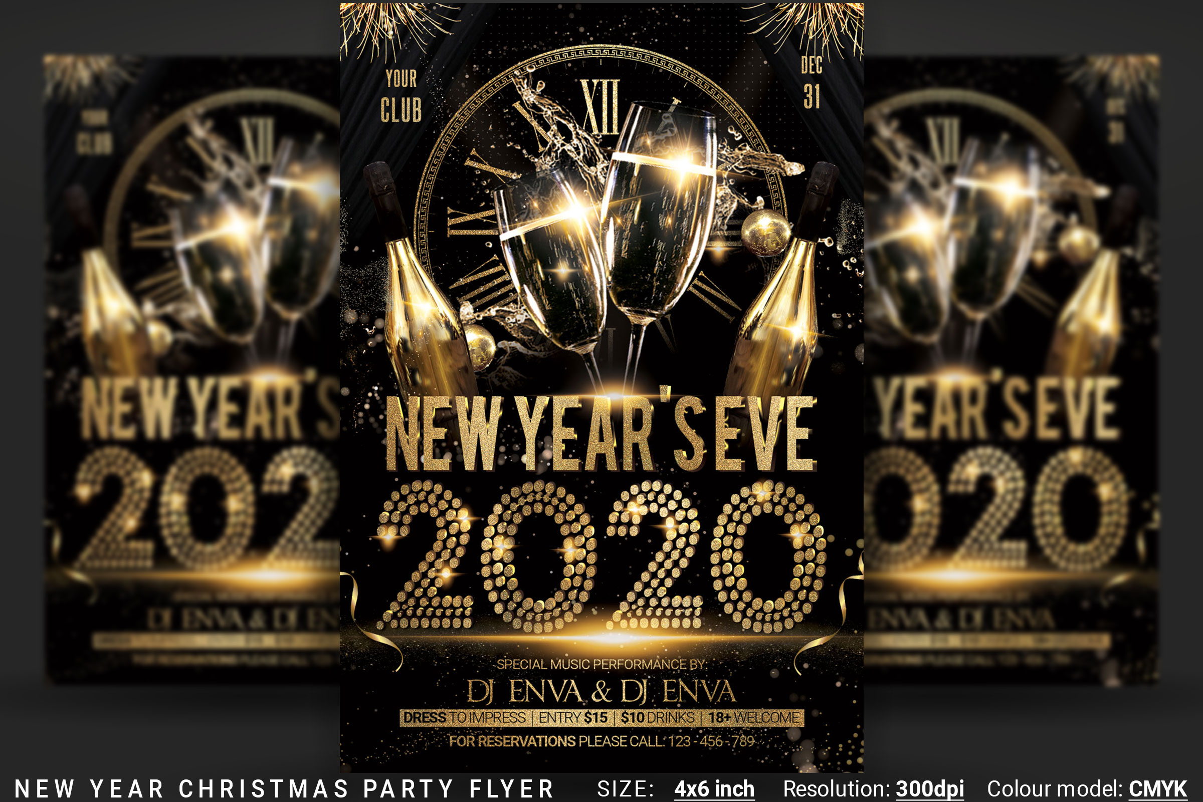 New Years Eve Christmas Party Flyer example image 1