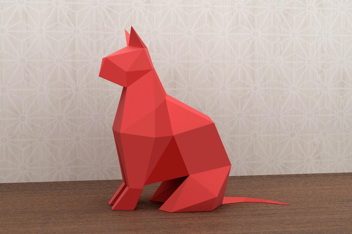 DIY Paper cat - 3d papercraft example image 5