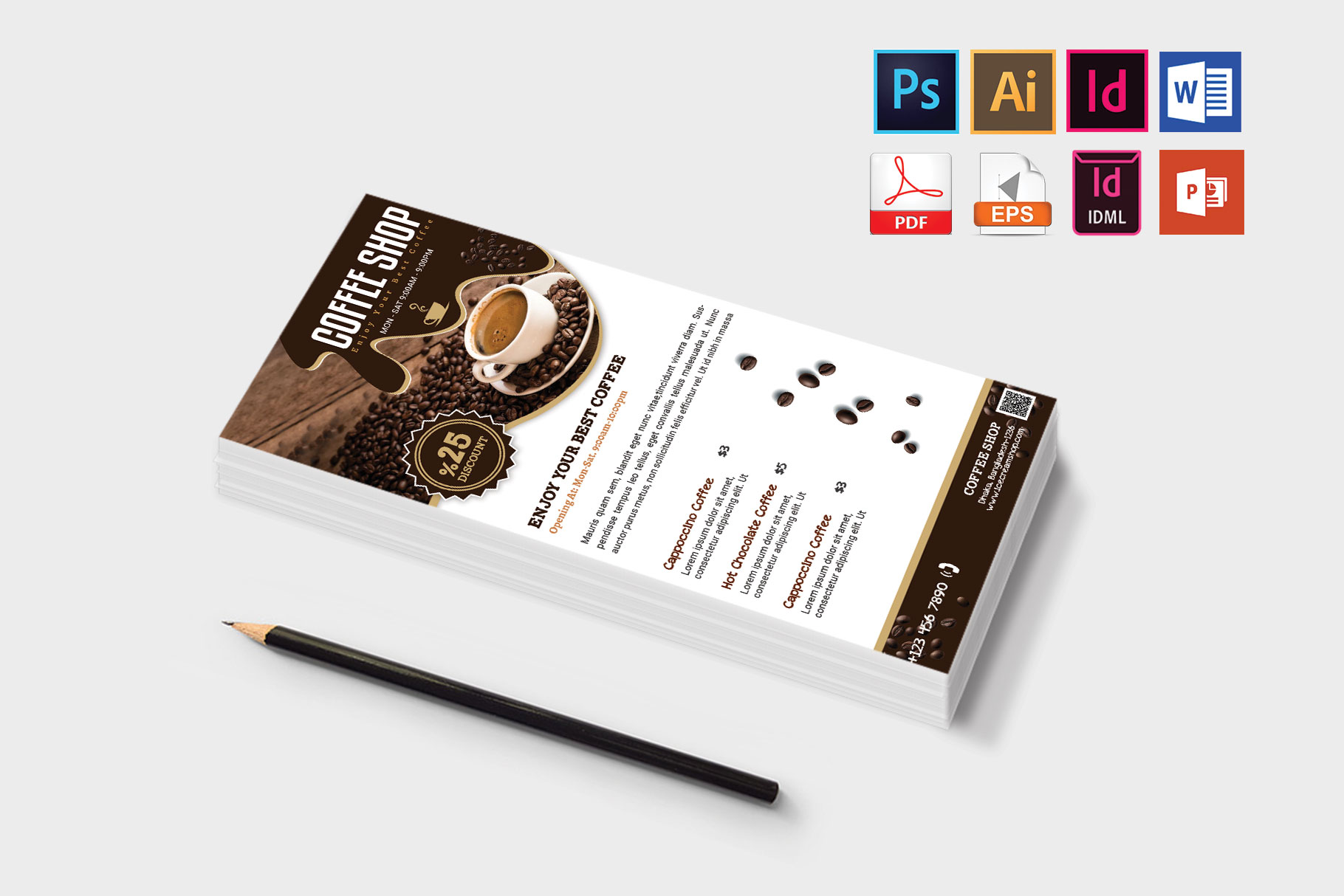 Rack Card | Coffee Shop DL Flyer Vol-03 example image 3