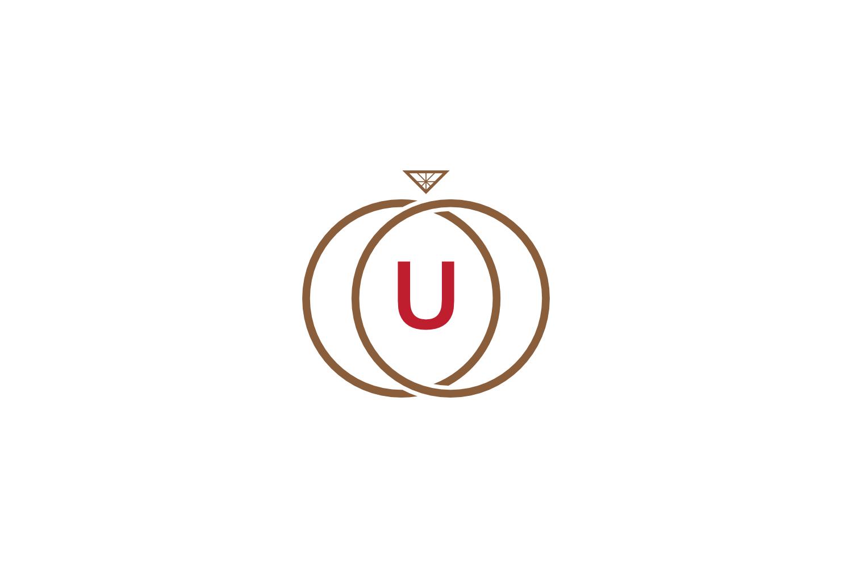 u letter ring diamond logo example image 1