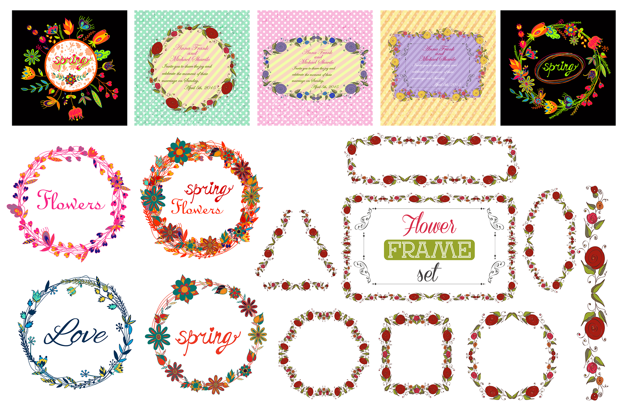153 Vector floral signs set + BONUS. example image 4