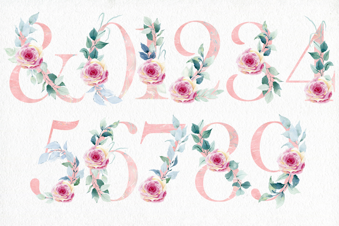 Watercolor roses. Alphabet. example image 5