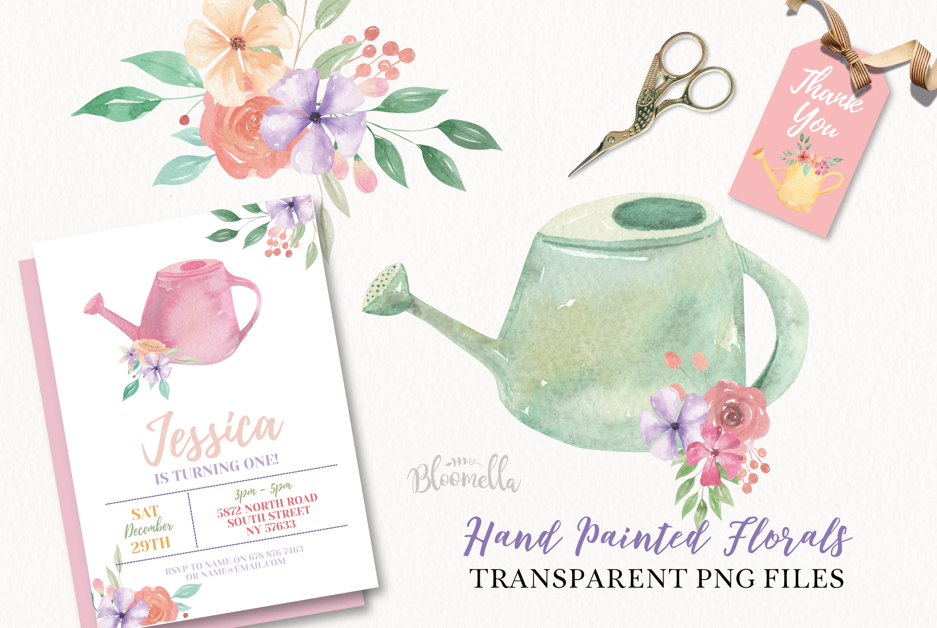 Watering Can Watercolor Floral Spring 12 Bouquets Spring example image 2