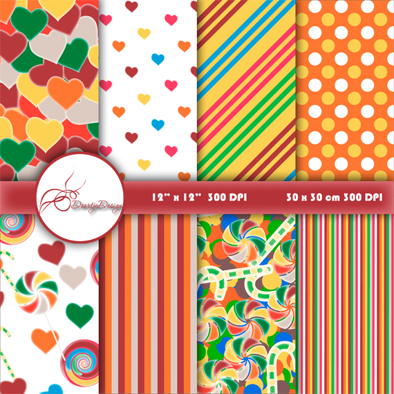 Candy Digital Paper Pack, Pattern Prints example image 1