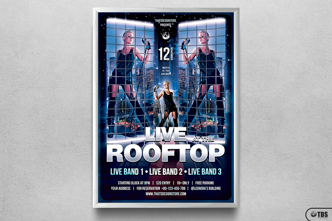 Rooftop Live Flyer Template example image 6