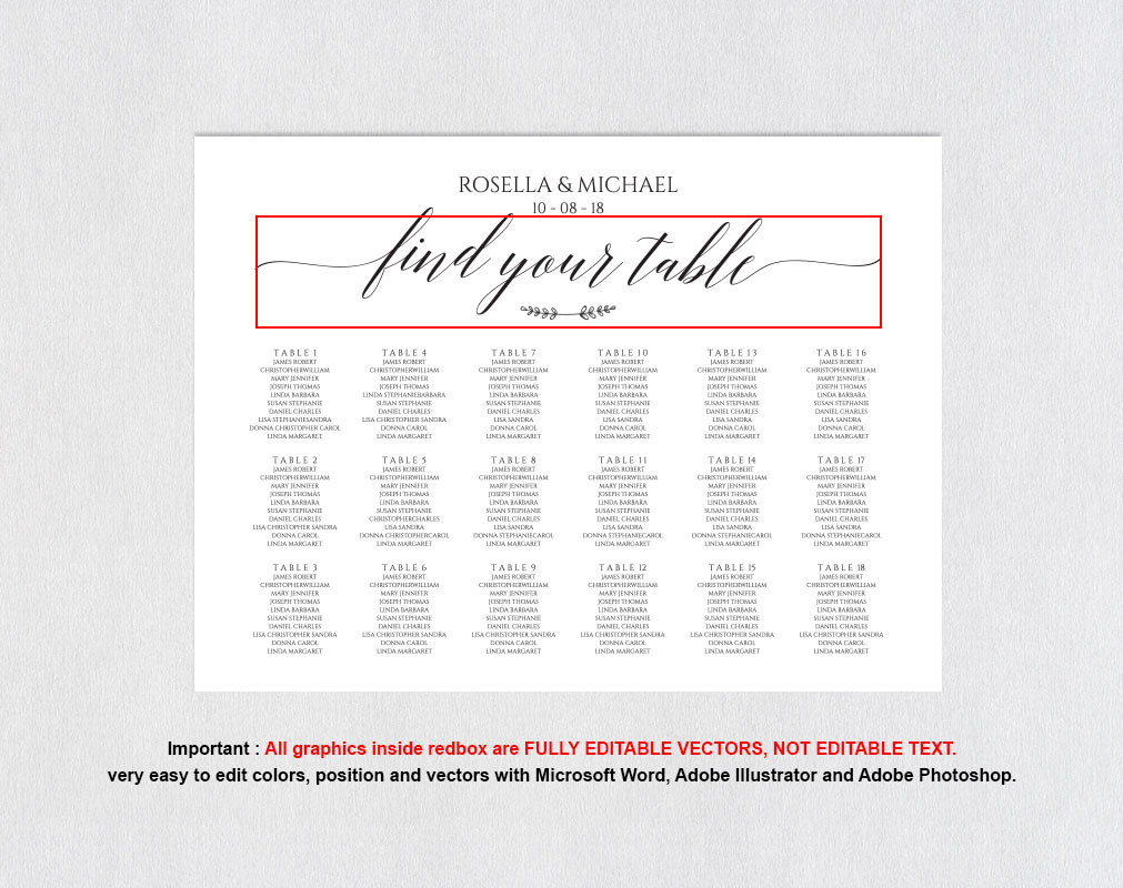 wedding seating chart sign landscape, TOS_7 example image 4