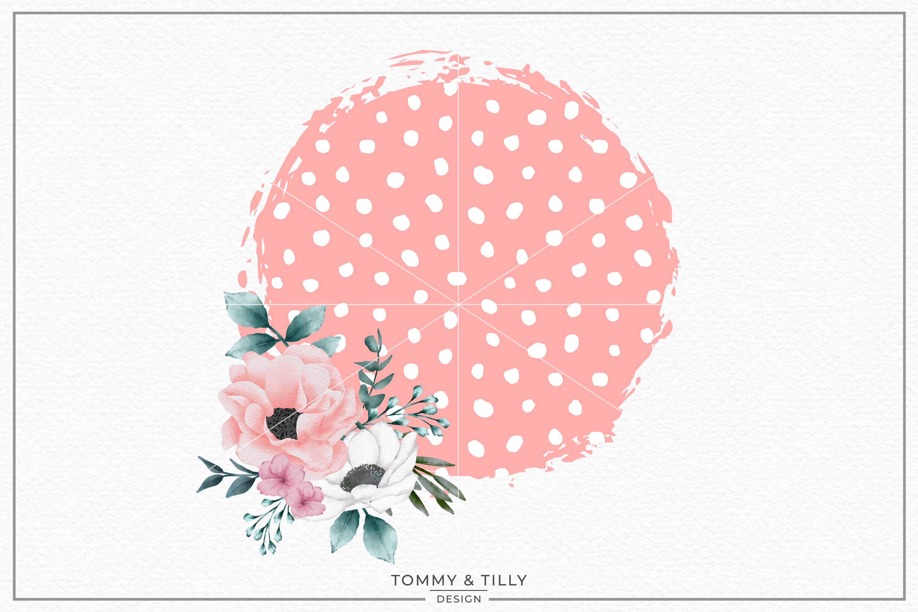 Spotty Floral Background- Sublimation PNG Clipart example image 1