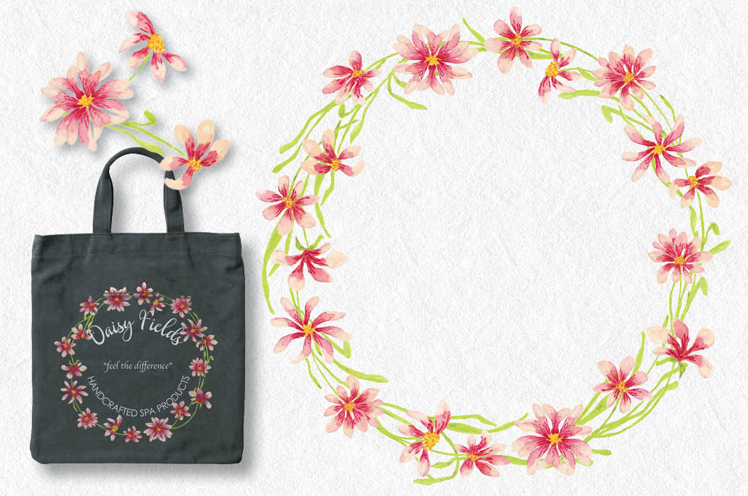 Watercolor wreath of pink daisies example image 4