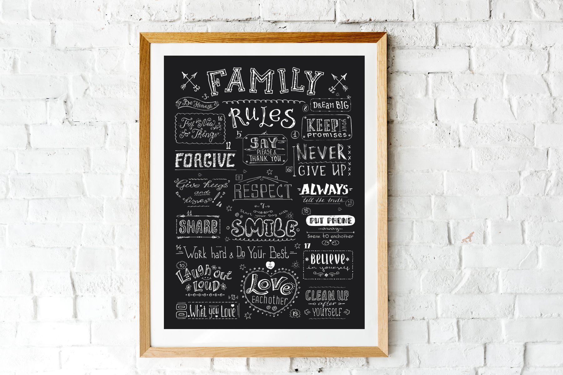 Family rules banner,cute poster example image 2
