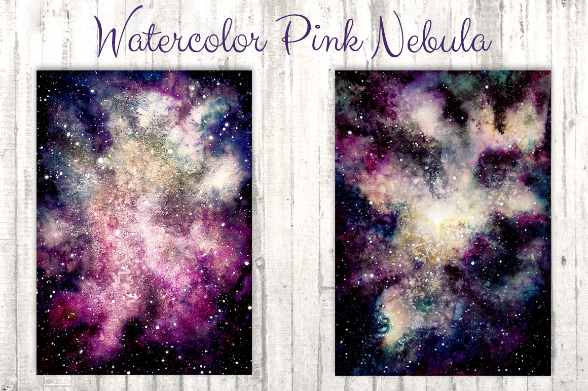 Watercolor Pink Nebula Collection example image 3