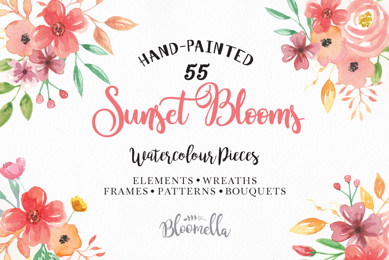 Sunset Flower Watercolor Floral Flowers Clipart Red Pink Package