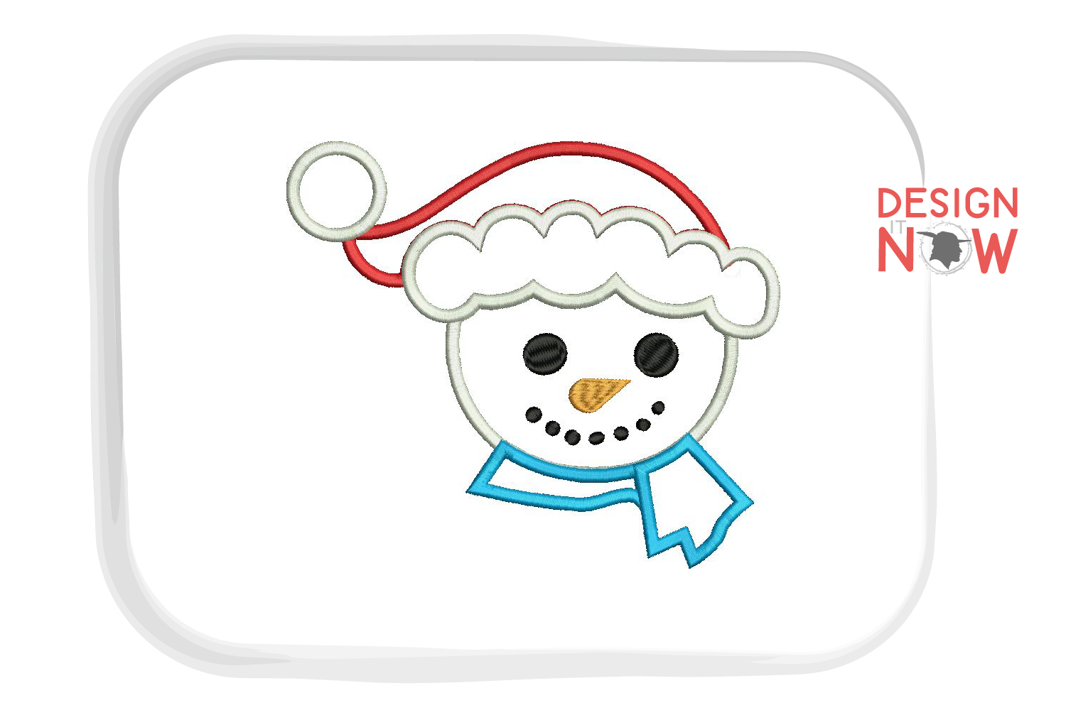 Snowman Applique Embroidery Design, Santa Claus Embroidery example image 2