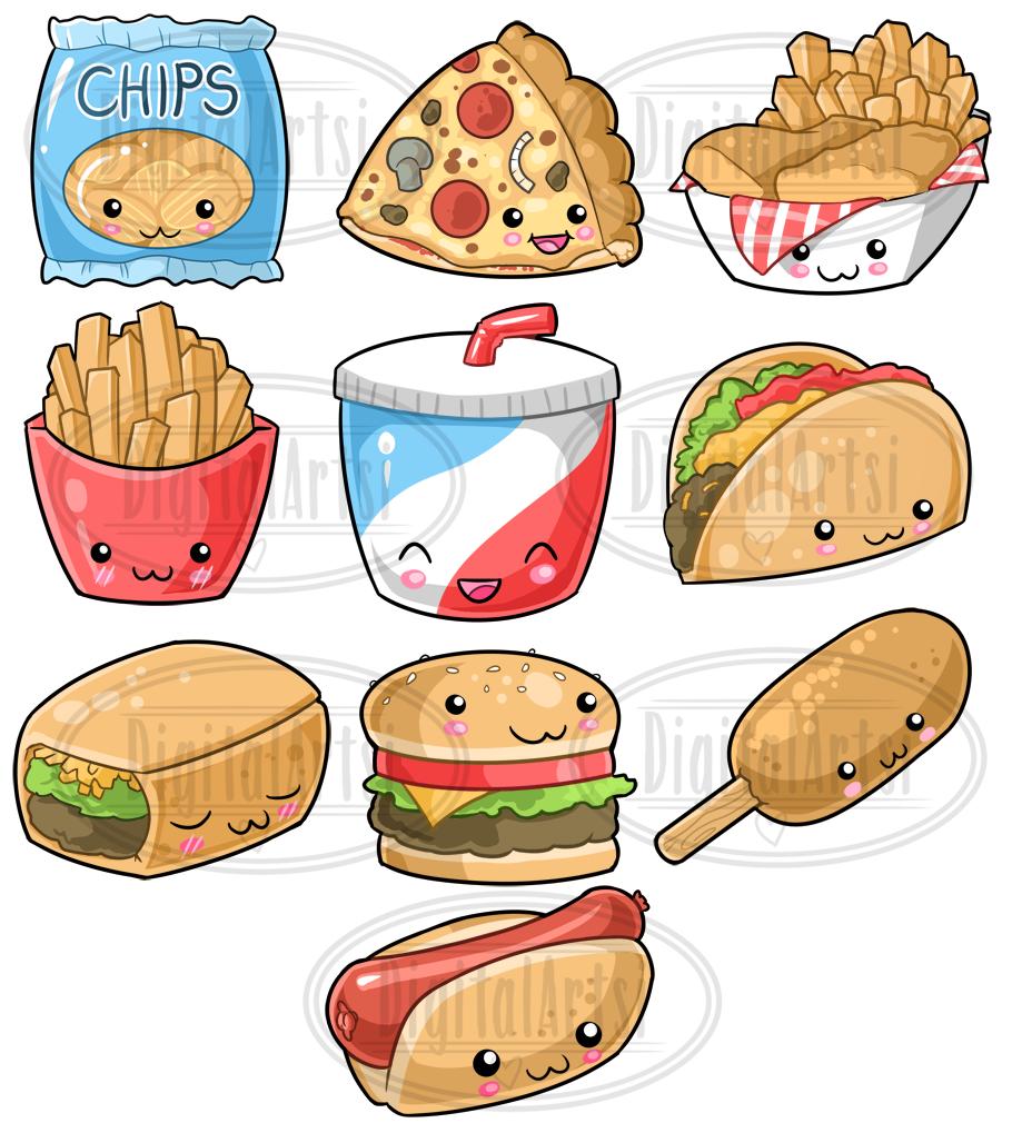 Kawaii Junk Food Clipart (126366) | Illustrations | Design ...
