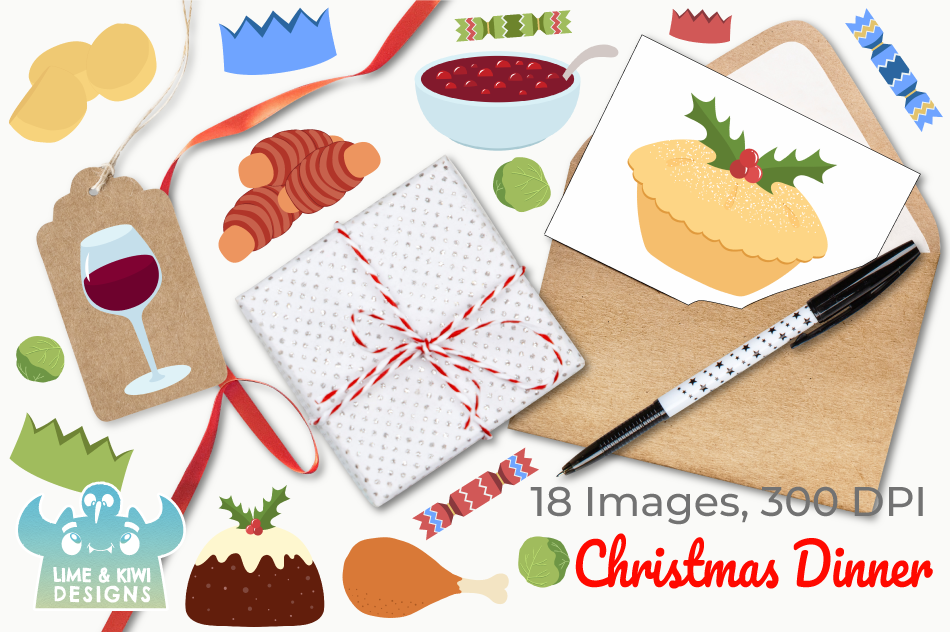 Christmas Dinner Clipart, Instant Download Vector Art example image 4