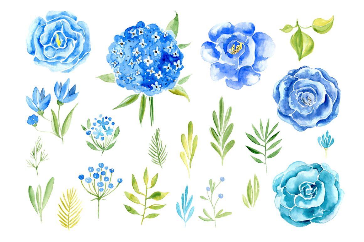 Watercolor blue flowers roses set example image 2