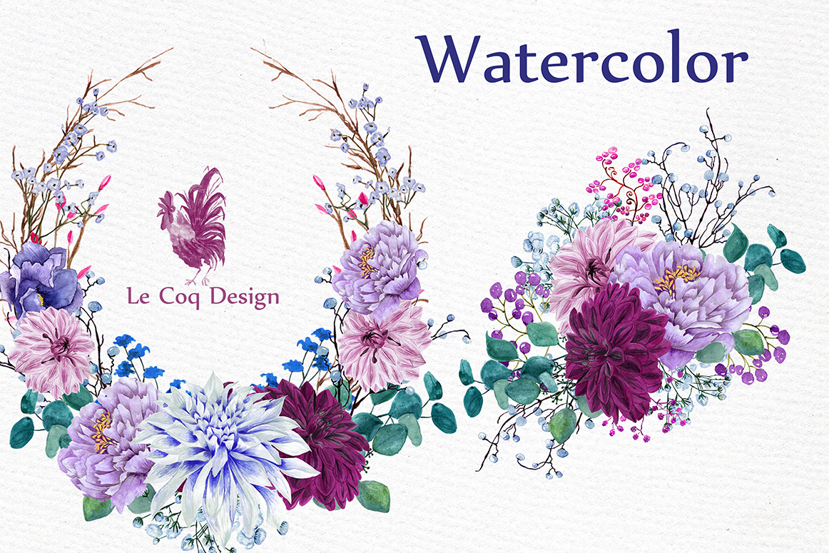 Watercolor Wreaths Clipart example image 2
